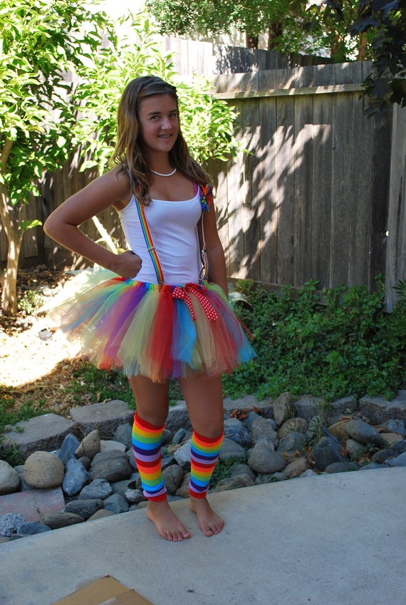 Custom Adult Rainbow Clown Tutu Halloween Costume