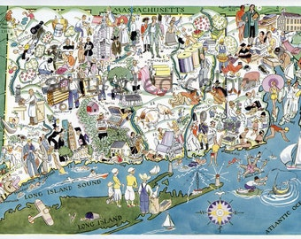 Connecticut Rhode Island Map ORIGINAL 1932 Vintage Picture Map - Elmer Berta Hader Antique Providence Warwick Cranston Bridgeport Hartford