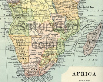 Africa Map - Original 1895 Antique Vintage Map of Africa - Madagascar Sudan Buinea Congo Angola South Africa Sahara Egypt