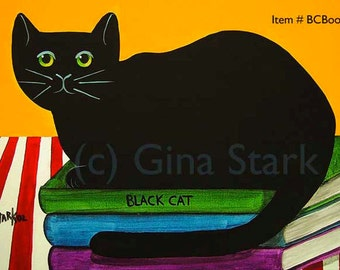 Black Cat sitting on Books Whimsical PoP Art Print