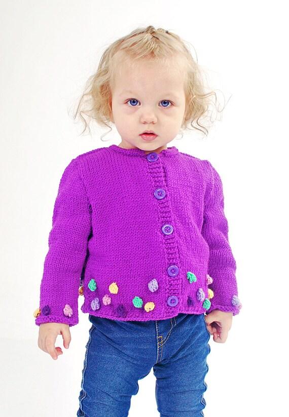 Baby Girls jacket knitted cardigan purple Merino wool winter warm knitting Pink Yellow Green Bobbles 18-24 months