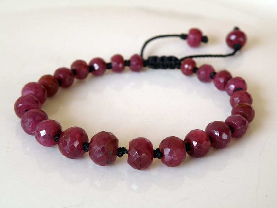 Red Ruby gemstone bracelet - Buddha bracelet - adjustable pull out closing - faceted Ruby beads - unisex - Tribal Jewelry - July birthstone