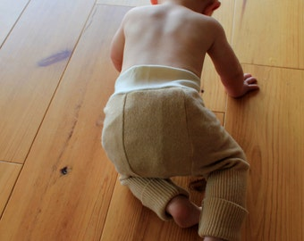Custom wool longies, wool diaper cover, wool pants with doubler center.