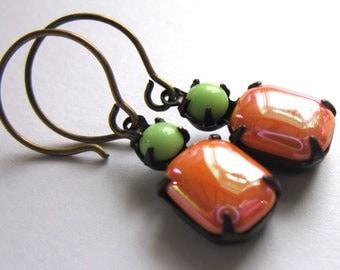 Orange Claw Set Earrings Glass Fashion Jewelry
