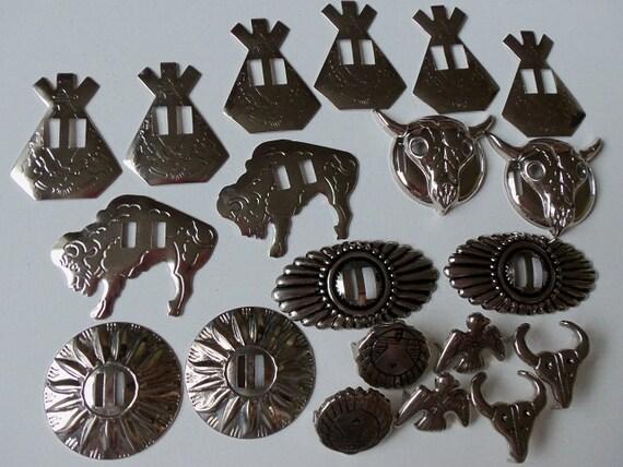 14 Vintage Western Conchos & 6 Bonus Studs - Buffalo, Steer, Teepee, Sunburst, Oval, Thunderbird