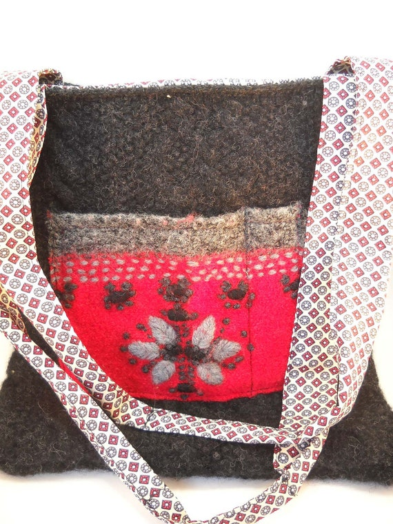 Black, Red Felted Wool Pouch: Wool Felt, Repurposed Wool, Felted Wool Purse, Wool Sweater Purse