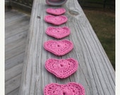 ON SALE Heart shaped tin with pink crocheted mini hearts - appliques - embellishments - scrapbooking - decoration - mixed media - BitsOfFiber