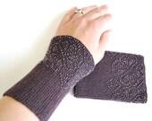 Beaded woolen wrist warmers, ready to ship