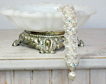 Bridal Bracelet with Ivory or White Swarovski Pearls and Crystals for Weddings, Bride Bracelet and Bridesmaid Gifts