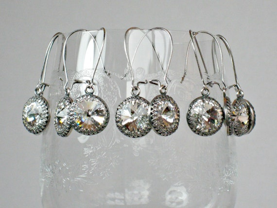 Earrings FIVE SETS for BRIDAL Party, Antique Silver with Swarovski Crystal on Kidney Shaped Wires, Bridesmaid Gifts