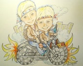 Custom Caricature Portrait of Two Children  from a Picture Color 20 x 24