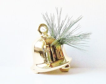 Mid Century Christmas Home Decor, Golden Bell Planter Vase, Centerpiece Wedding Bell, Winter Home Display, Holiday Wedding Decoration