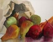 Original Watercolor Painting Pears in Brown Paper