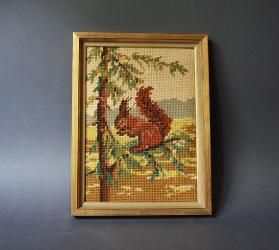 Vintage Handmade Framed Needlepoint Squirrel Wall Hanging
