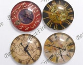 4pcs of the 25mm Round Glass Cabochons Mix horologe, jewelry Cabochons finding beads,Glass Cabochons, WATCH-FACE--02