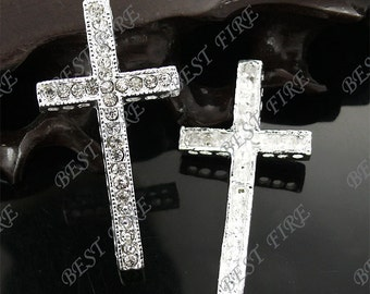 2pcs of 24x47mm silver tone Sideways Cross Rhinestone Connector,Cross Bracelet Connector,bangle findings
