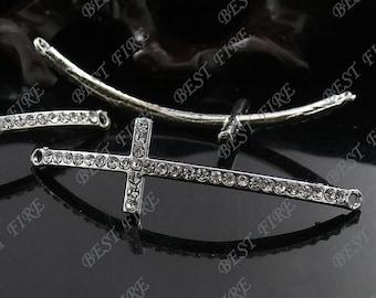 5pcs of 15x54mm platinum tone Rhinestone Cross Connector,Cross Bracelet Connector,bangle findings