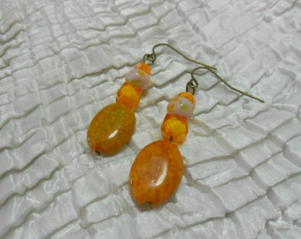 Autumn Earrings, Orange Earrings, Fall Jewelry, Autumn Jewelry, Gemstone Earrings