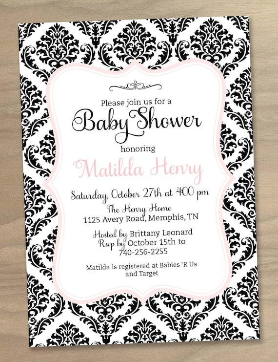Baby Shower or Bridal Shower Invitation Modern Damask Pattern