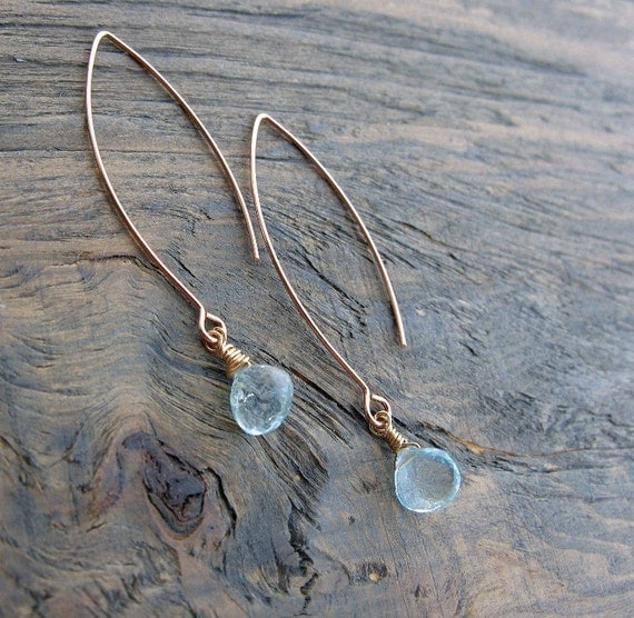 Rose gold earrings, contemporary, with Swiss blue topaz gemstones