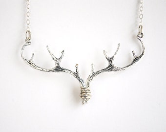 Silver Antler Necklace Elk Deer Necklace