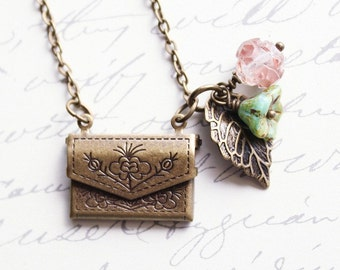 Envelope Locket Necklace Tiny Purse Pendant Pale Pink Rose Glass Turquoise Flower Secret Hiding Places Antique Brass Nature Charms