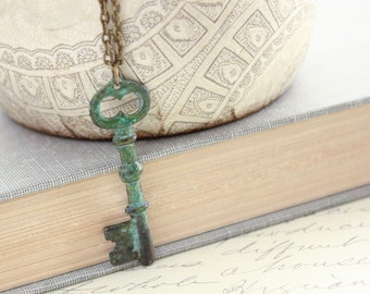 Skeleton Key Necklace Verdigris Patina Brass Key Pendant Necklace Teal Green Estate Style Jewelry Rustic Necklace Long Romantic French