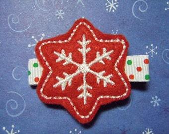 Red Snowflake Christmas Felt Hairbow  Clippie - For Infant Toddler Girl