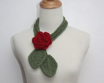 Sage Green Skinny Leaf Lariat with Red Rose Brooch