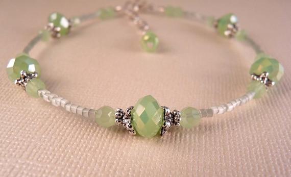 Ankle Bracelet Crystal Anklet Mint Crystal Anklet Crystal  Jewelry Beaded Jewelry Beaded Ankle Bracelet