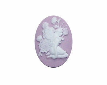 25x18 Fairy cameo purple cabochon nymph in the woods jewelry findings cameo jewelry supply (endless possibilities for DIY hand crafts) 260x