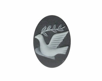 25x18mm white Dove cameo Resin Cameo dove with olive branch 25x18mm cabochon spiritual supply religious jewelry 695q