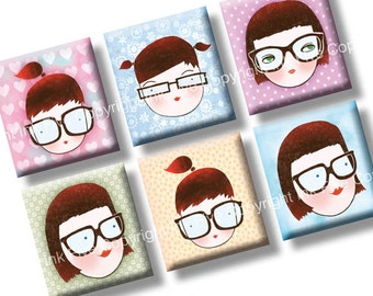 4x6 Geek School Girls collage sheet scrabble tile size images. 0.75x0.83 inch squares for scrabble pendants. Digital download
