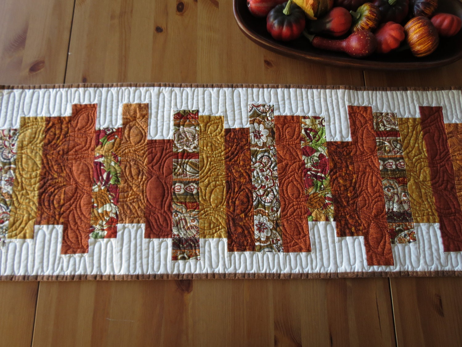 Thanksgiving Fall Quilted Table Runner Autumn In Burnt Orange