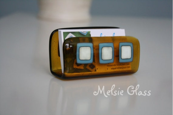 Mad Men Mod amber glass business card holder, with turquoise & cream glass design