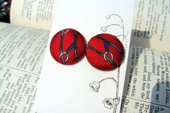 Large Christian Dior red stirrup silk tie fabric button earrings