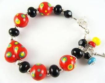 Glass Bead Bracelet, Red Lampwork Bracelet, Black Beaded Bracelet, Lampwork Jewelry, Yellow Colorful Bracelet, Beadwork Bracelet