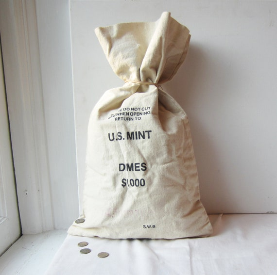 Vintage US Mint Canvas Coin Bag - Dimes - Great to repupose into a pillow or tote