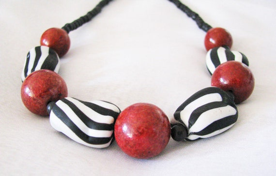 Chunky Zebra Striped Glass Black and White, Red Sponge Coral and Animal Print Ethnic Necklace