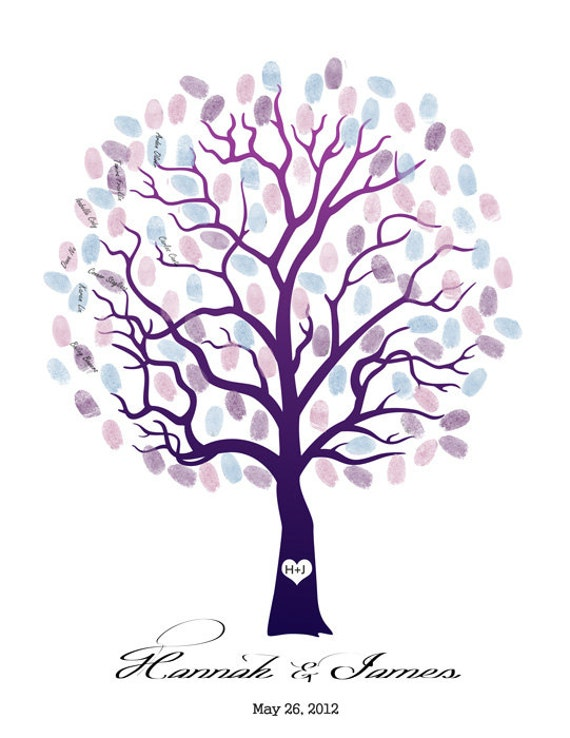 Wedding Tree Guest Book Print--  To Be Personalized With Guest's Fingerprints - 13x19 100% Cotton Art Paper-With 1 ink pads