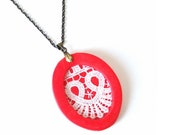 SALE Red-white lacy pendant necklace white lace piece on red oval polymer clay fashion necklace on bronze chain shabby chic one-of-a-kind