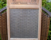 NATIONAL WASHBOARD ATLANTIC 510 Antique Laundry Scrubber Trademarked Rippled Glass Chicago Saginaw Memphis