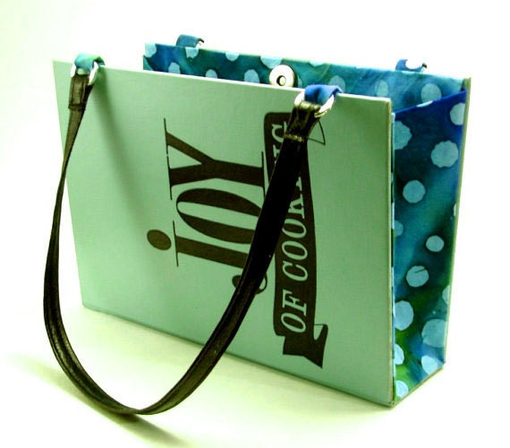 "Book Purse, Book Clutch, ""Joy of Cooking,"" Cookbook, shoulder straps, teal blue"