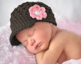 Baby Girl Crochet Hat, Baby Girl Hat, Crochet Hat, Newborn Beanie Hat, Hats for Baby, Hats for Girls, Newborn Photo Prop, Brown and Pink Hat