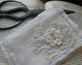 Needle Case, Vintage Linen and Lace, Hand Embroidered, blue, yellow (7014)