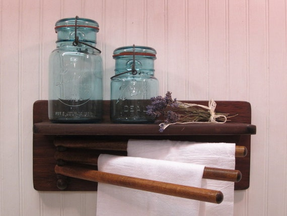 vintage wood wall mounted towel drying rack shelf