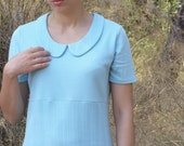 Preppy peter pan collar dress recycled upcycled light blue alice