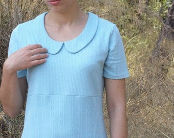 Preppy peter pan collar dress upcycled light blue alice