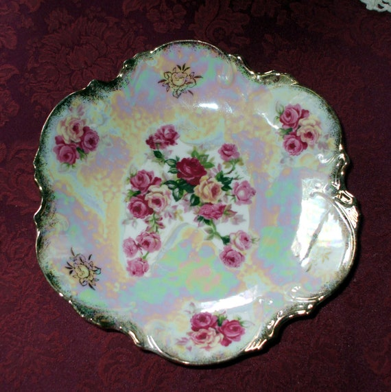 Bowl or Plate Roses Opalescent Iridescent Scalloped Porcelain Vintage