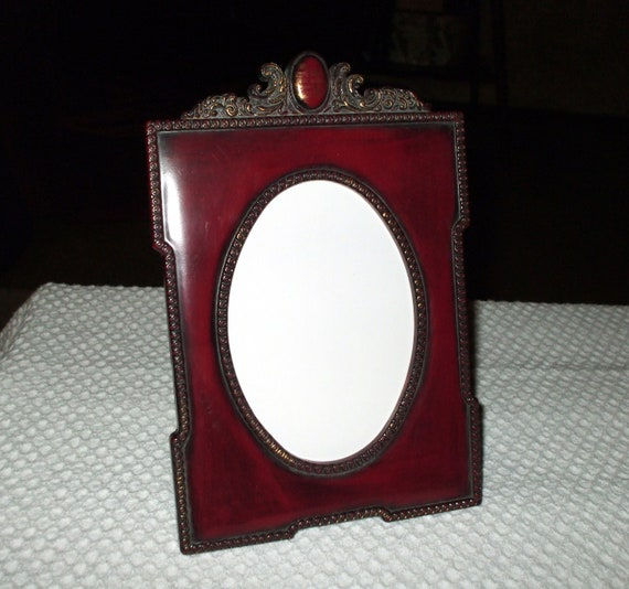 Ornate Victorian Style Picture Frame Burgundy and Antique Gold Vintage SALE